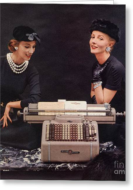 Twentieth Century Greeting Cards -  1950s Usa Burroughs Sensimatic Adding Greeting Card by The Advertising Archives