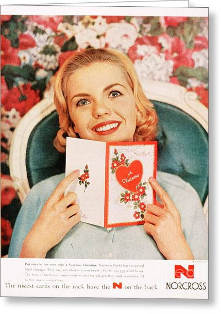 With Love Drawings Greeting Cards -  1950s Usa Cards Valentines Day Love Greeting Card by The Advertising Archives