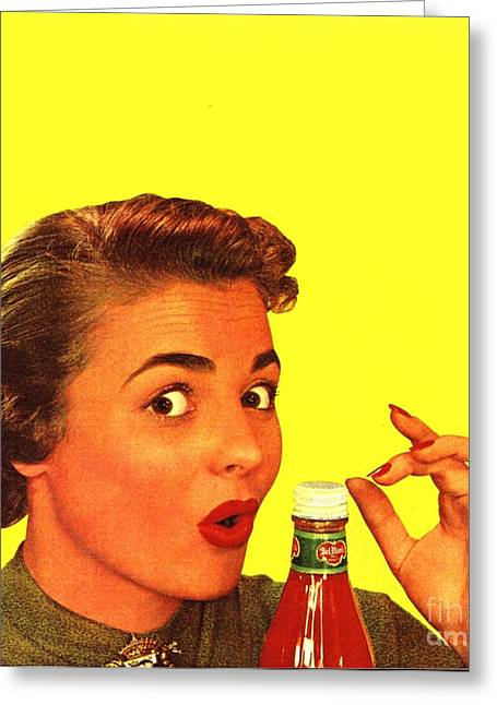 1950s Usa Catsup Tomato Sauce Lids Mrs Greeting Card by The Advertising Archives