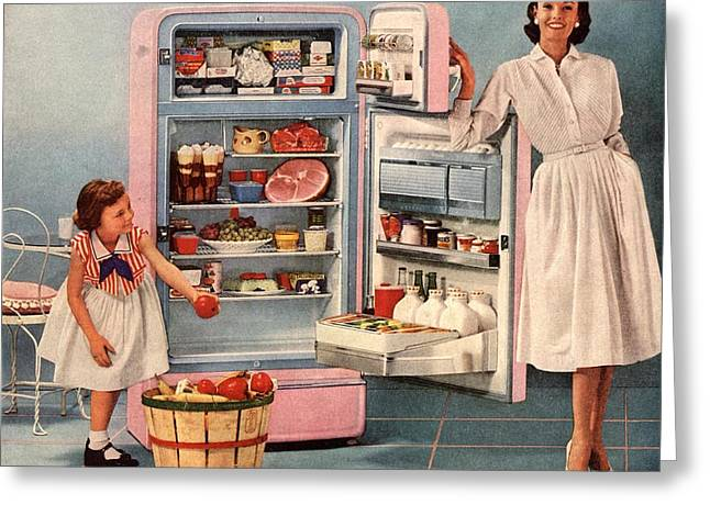 Twentieth Century Greeting Cards -  1950s Usa Fridges Housewives Housewife Greeting Card by The Advertising Archives