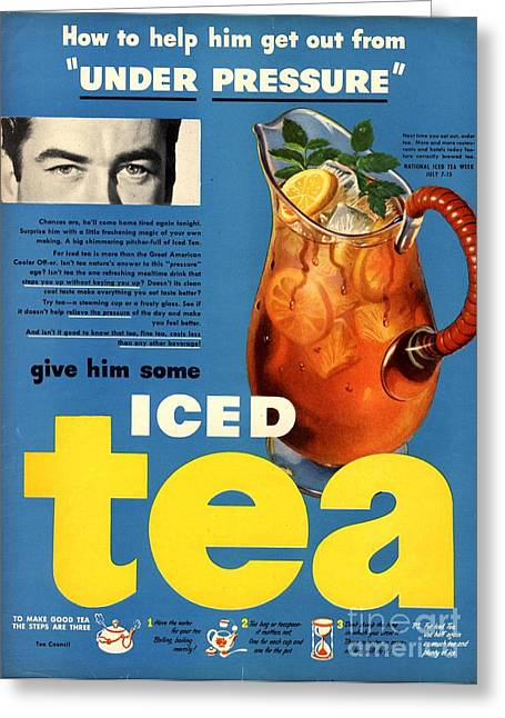 Twentieth Century Greeting Cards -  1950s Usa Iced Tea Greeting Card by The Advertising Archives