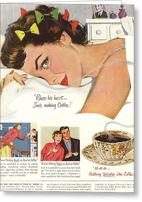 Twentieth Century Greeting Cards -  1950s Usa Sleep Sleeping Coffee Smell Greeting Card by The Advertising Archives