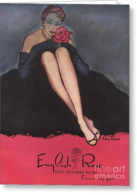 1953 1950s Uk Womens Stockings Nylons Greeting Card by The Advertising Archives