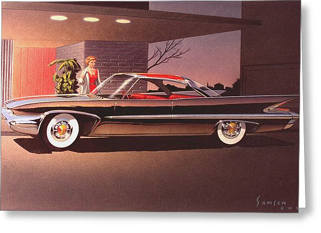 Automotive History Greeting Cards -  1960 DESOTO classic styling design concept rendering sketch Greeting Card by John Samsen