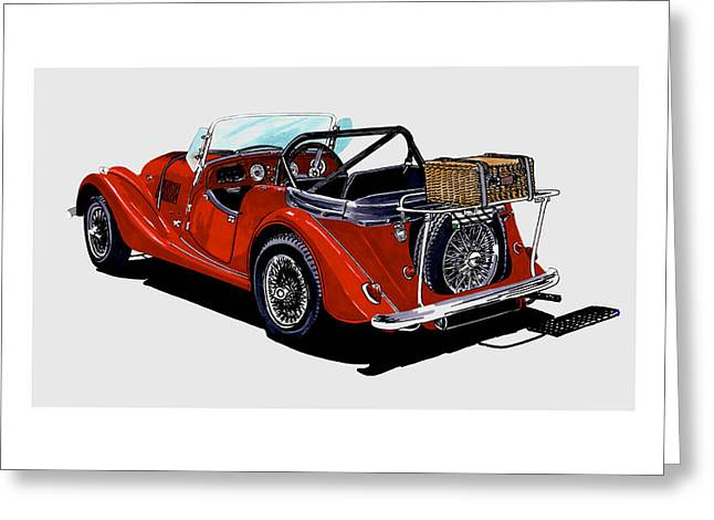 Stretching Drawings Greeting Cards -  1961 Morgan 4 Plus 4 1961 Greeting Card by Jack Pumphrey