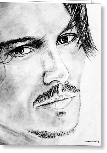 Classic Hollywood Drawings Greeting Cards - # 2 Johnny Depp portrait. Greeting Card by Alan Armstrong