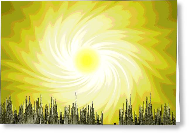 Pull Digital Art Greeting Cards -  204 Poster Climate Change 1 ... Early Spring - Sun  Greeting Card by Irmgard Schoendorf Welch