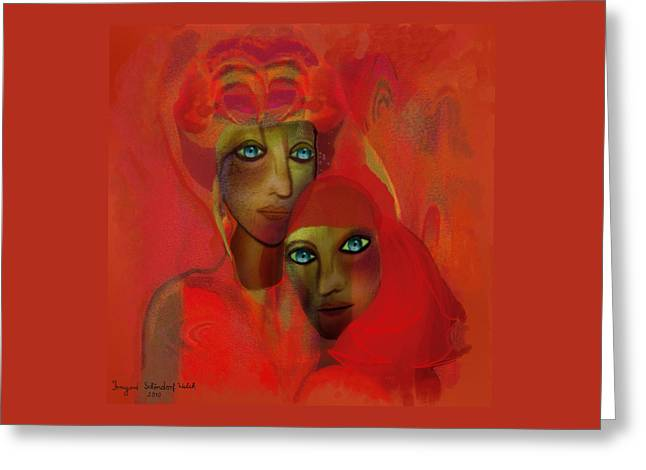 Schoendorf Greeting Cards -   260 - Women in red ... Greeting Card by Irmgard Schoendorf Welch