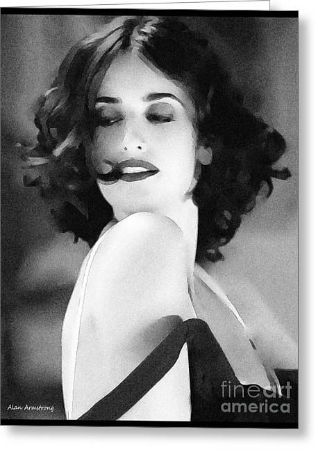 Penelope Cruz Greeting Cards - # 3 Penelope Cruz portrait. Greeting Card by Alan Armstrong