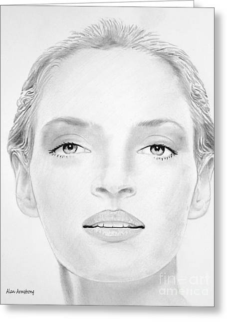 Super Stars Drawings Greeting Cards - # 3 Uma Thurman portrait Greeting Card by Alan Armstrong