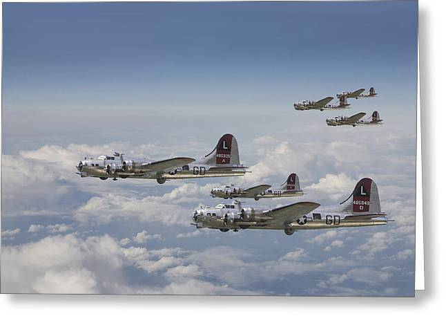 Fortress Greeting Cards -  381st Group Outbound Greeting Card by Pat Speirs