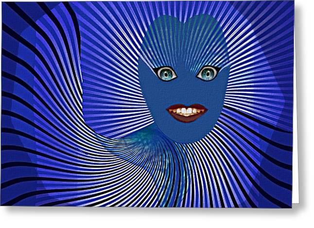 383 - Happy Blue Little  Monster   Face Greeting Card by Irmgard Schoendorf Welch
