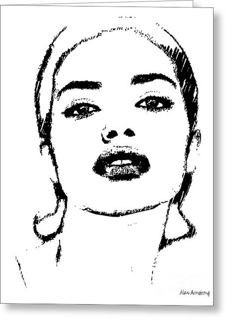 Adriana Lima Greeting Cards - # 4 Adriana Lima portrait. Greeting Card by Alan Armstrong