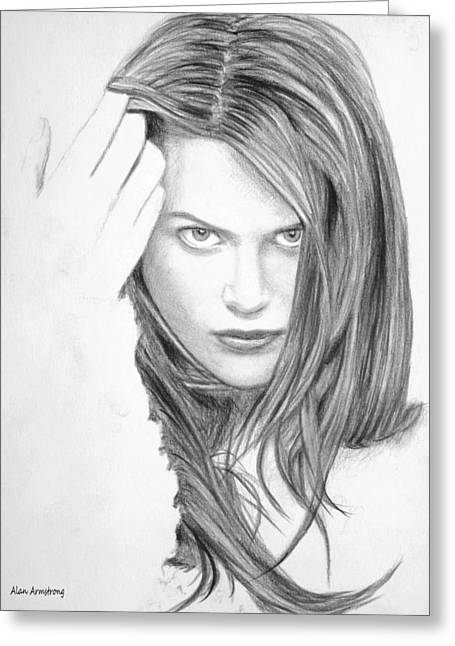 Thin Drawings Greeting Cards - # 4 Nichole Kidman portrait Greeting Card by Alan Armstrong