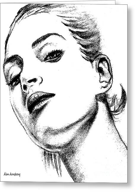 Super Stars Drawings Greeting Cards - # 4 Uma Thurman portrait Greeting Card by Alan Armstrong