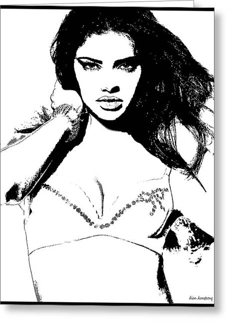 Adriana Lima Greeting Cards - # 42 Adriana Lima figurative Greeting Card by Alan Armstrong