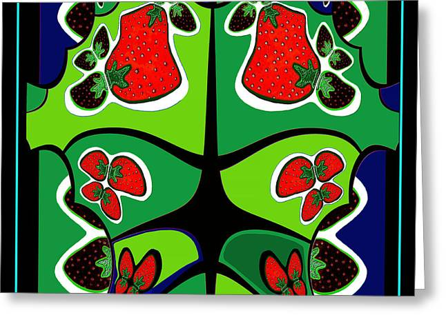 Strawberry Art Greeting Cards -  493 - Strawberry Wild  Greeting Card by Irmgard Schoendorf Welch