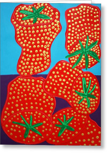 5 Big Strawberries Greeting Card by Matthew Brzostoski