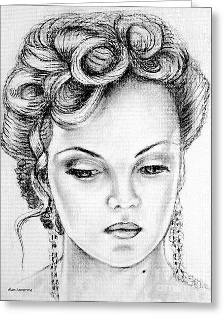 Charlize Theron Greeting Cards - # 5 Charlize Theron portrait Greeting Card by Alan Armstrong