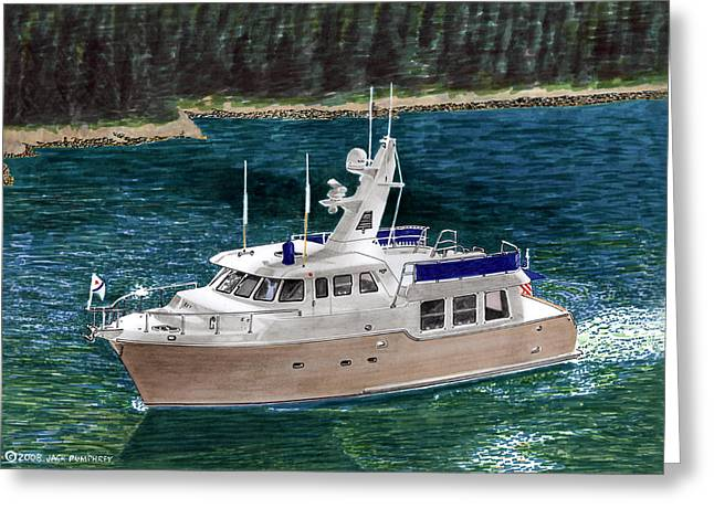 Creating Greeting Cards -  50 Nordhavn Trawler Yacht Greeting Card by Jack Pumphrey