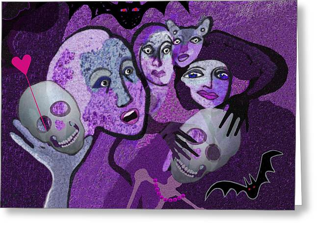 Violet Blue Greeting Cards -  524 - Skull and friends Greeting Card by Irmgard Schoendorf Welch