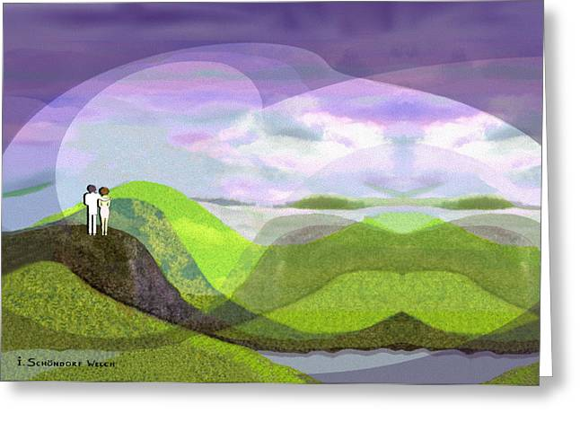 Approach Digital Art Greeting Cards -  537 -  Approach of darkness Greeting Card by Irmgard Schoendorf Welch