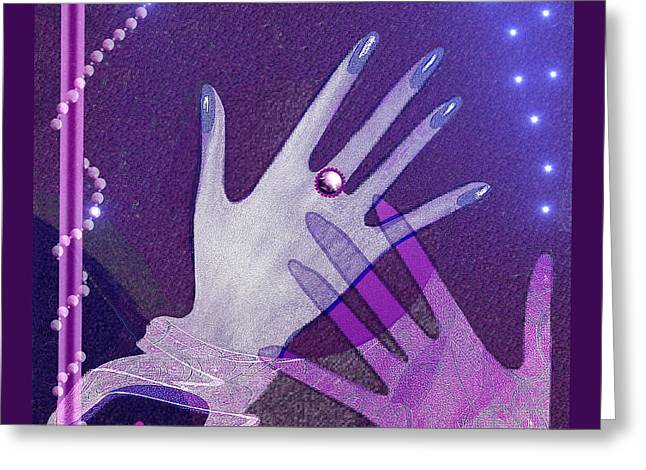 Two Handed Greeting Cards -   539 - Hands Greeting Card by Irmgard Schoendorf Welch