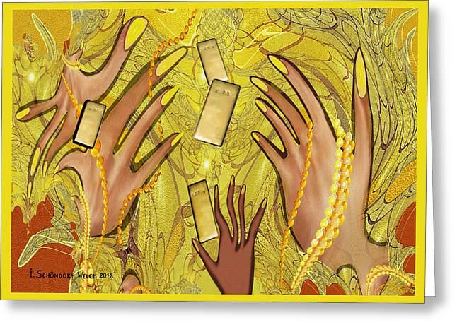 Warp Greeting Cards -  548 - Goldfinger Greeting Card by Irmgard Schoendorf Welch