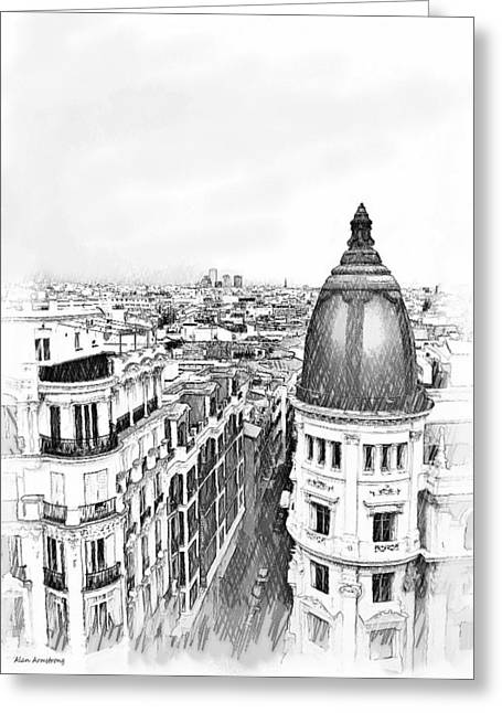 Buildings Greeting Cards - # 6 Madrid Skyline Greeting Card by Alan Armstrong