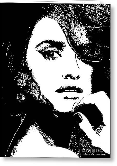 Penelope Cruz Greeting Cards - # 6 Penelope Cruz portrait. Greeting Card by Alan Armstrong