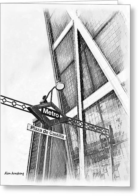 Spain Greeting Cards - # 6 Plaza De Castilla Madrid Greeting Card by Alan Armstrong