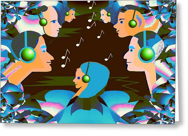 Listening Digital Art Greeting Cards -   688 - Listen to the music Greeting Card by Irmgard Schoendorf Welch
