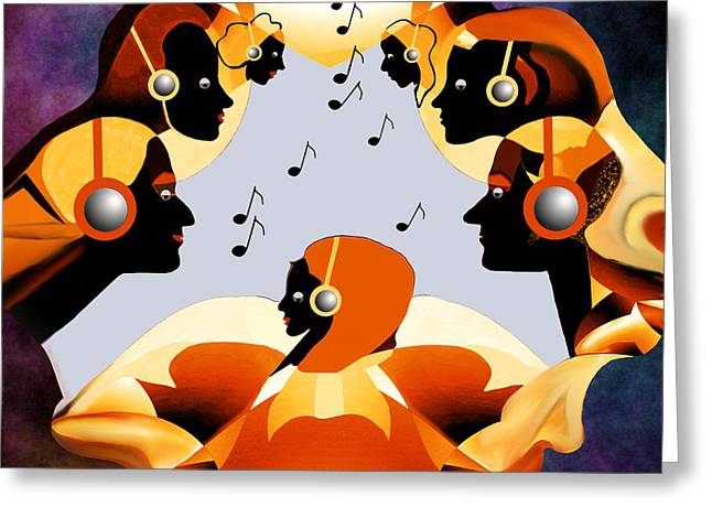 Listening Digital Art Greeting Cards -   693 -  Listen  to  music   Greeting Card by Irmgard Schoendorf Welch