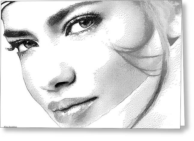 Adriana Lima Greeting Cards - # 6 Adriana Lima portrait. Greeting Card by Alan Armstrong