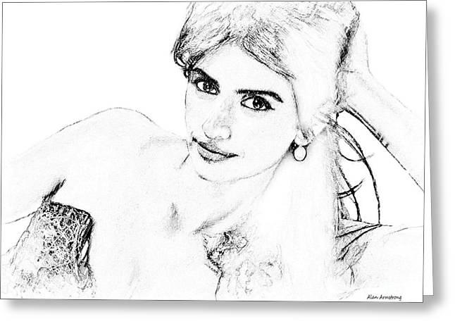 Penelope Cruz Greeting Cards - # 7 Penelope Cruz portrat. Greeting Card by Alan Armstrong