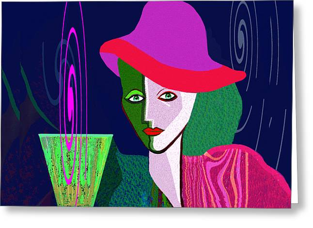 Green Hat Art Greeting Cards -  768 - Green Drink   Greeting Card by Irmgard Schoendorf Welch