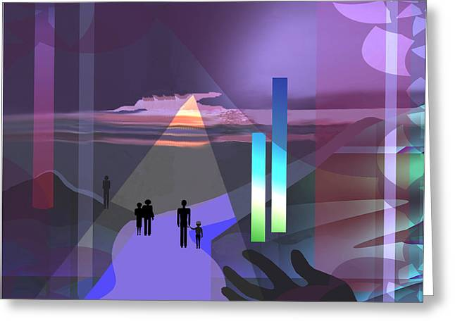 Monolith Digital Greeting Cards -  798 -   Surreal  Walk  into magic Greeting Card by Irmgard Schoendorf Welch