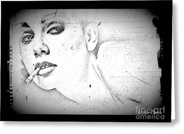 Charlize Theron Greeting Cards - # 8 Charlize Theron portrait Greeting Card by Alan Armstrong