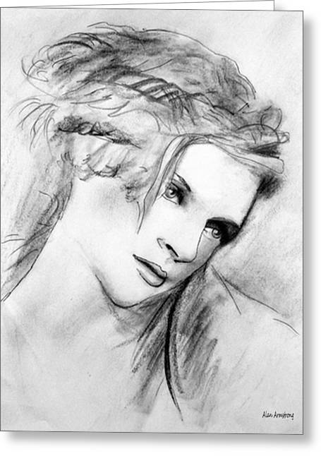 Super Stars Drawings Greeting Cards - # 8 Uma Thurman Greeting Card by Alan Armstrong