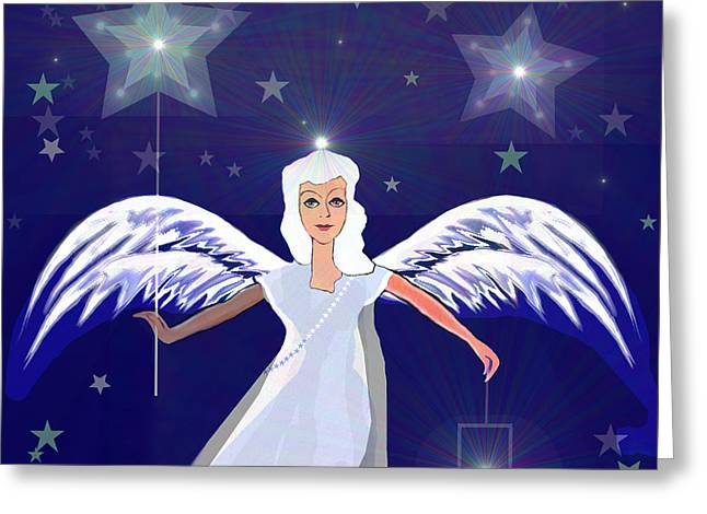 Inuu Greeting Cards -  806 -  Christmas Angel  with  lantern  Greeting Card by Irmgard Schoendorf Welch