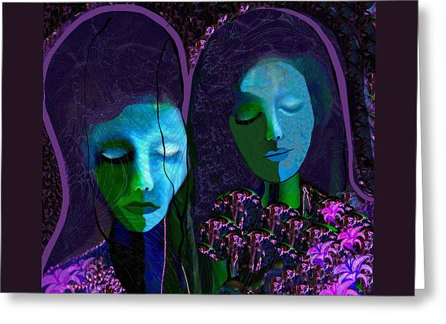 Sad Face Greeting Cards -   892 - Griefing ladies Greeting Card by Irmgard Schoendorf Welch