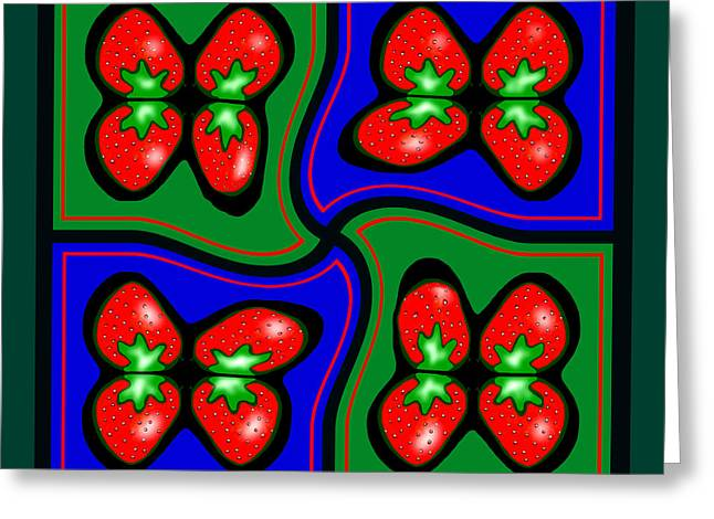 Strawberry Art Greeting Cards -  897 - Strawberry Pop  Pillow Greeting Card by Irmgard Schoendorf Welch