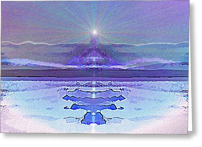 Inuu Greeting Cards -  934 - Landscape Surreal Blue Light Greeting Card by Irmgard Schoendorf Welch