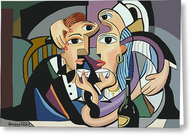 Canvas Wine Prints Digital Greeting Cards -  A Cubist Wedding Greeting Card by Anthony Falbo