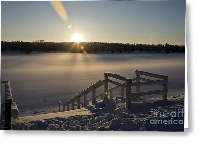 Color Photography Greeting Cards -  A Frozen way to Sunrise Greeting Card by Arik Baltinester