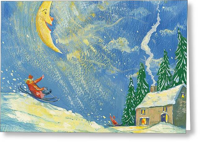 Sledger Greeting Cards -  A Happy Christmas Greeting Card by David Cooke