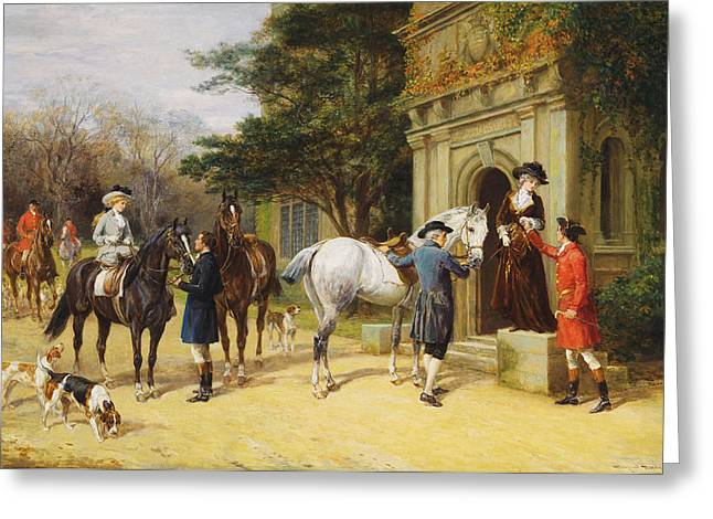 Side Saddle Greeting Cards -  A Helping Hand Greeting Card by Heywood Hardy