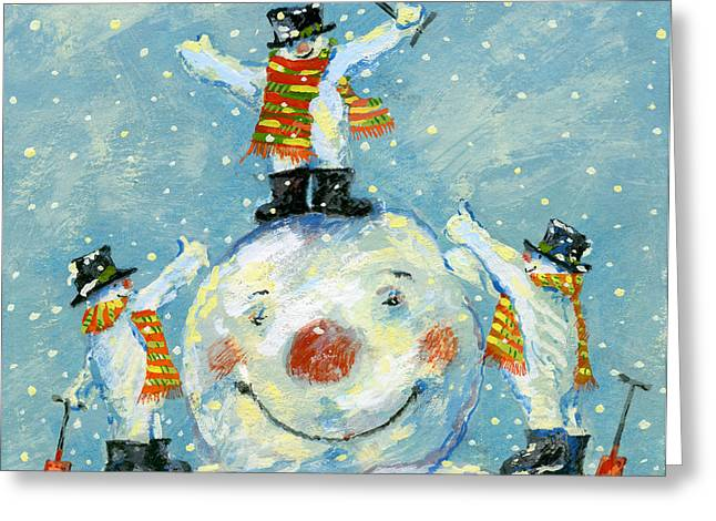 Snowman Christmas Card Greeting Cards -  A job well done  Greeting Card by David Cooke