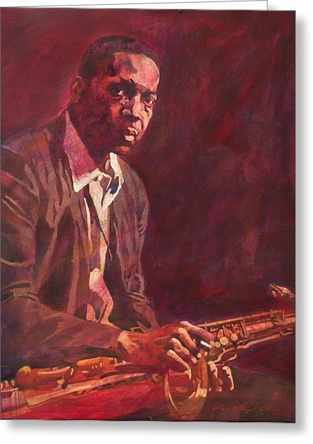 Jazz Player Greeting Cards -  A Love Supreme - Coltrane Greeting Card by David Lloyd Glover
