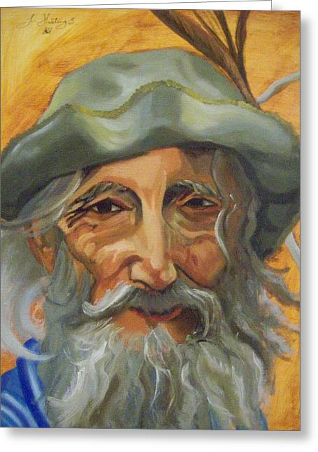 Old Man With Beard Greeting Cards -  A Mans Face Greeting Card by Lanette Hastings